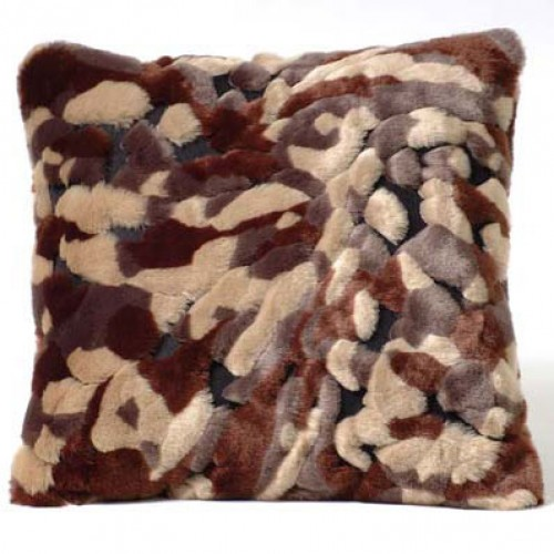 Camouflage Cushion - taupe, chocolate & black