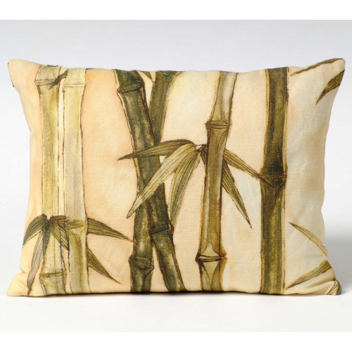 Bamboo Canes & Leaves - green - cushion - rectangular