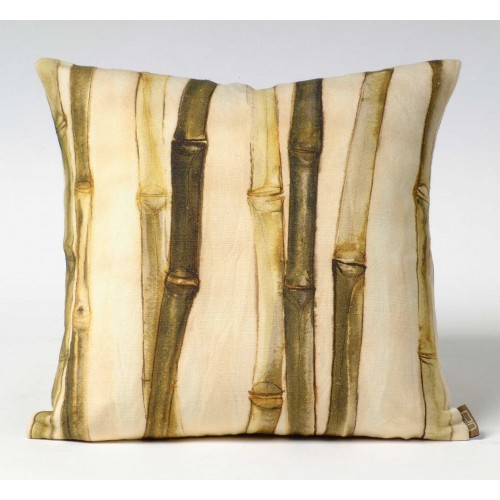 Bamboo Canes & Leaves - green - cushion - square
