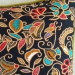 Batik Jewels - rectangular - cushion - black