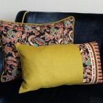 Batik Jewels - small - rectangualr - cushion  - black