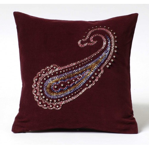 Beaded Paisley cushion - aubergine