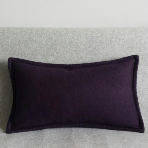 Felt with Blanket Stitch - cushion - rectangular - aubergine