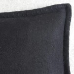 Felt with Blanket Stitch - cushion - rectangular - black