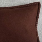 Felt with Blanket Stitch - cushion - rectangular - chocolate