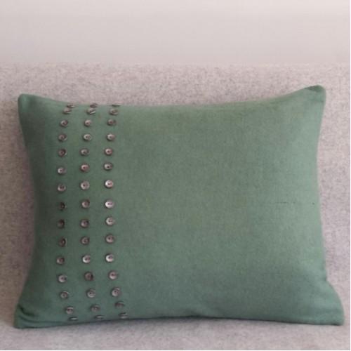 Felt with Buttons - cushion - rectangular - mint