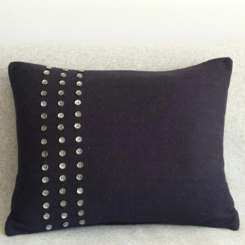 Felt with Buttons - cushion - rectangular - navy