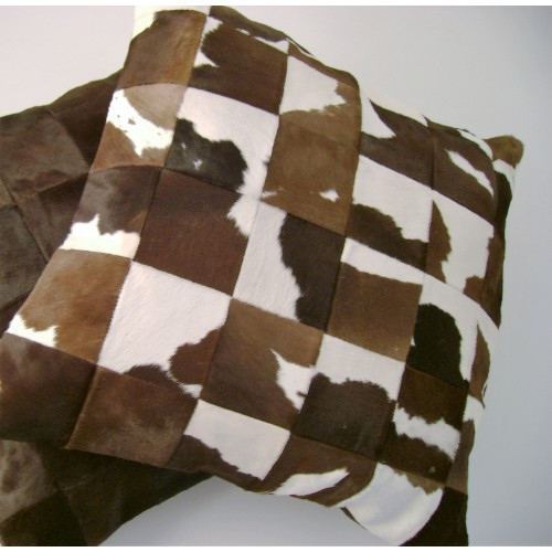 Checkered cow hide cushion - square - mixed