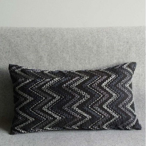 Chevron cushion - rectangular - grey