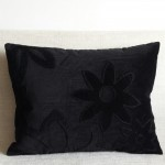 Corduroy Flowers - rectangular - cushion - chocolate or black