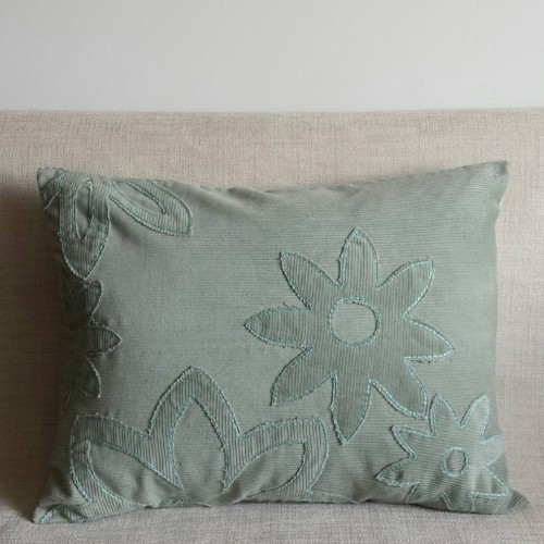 Corduroy Flowers - rectangular - cushion - cream or mint