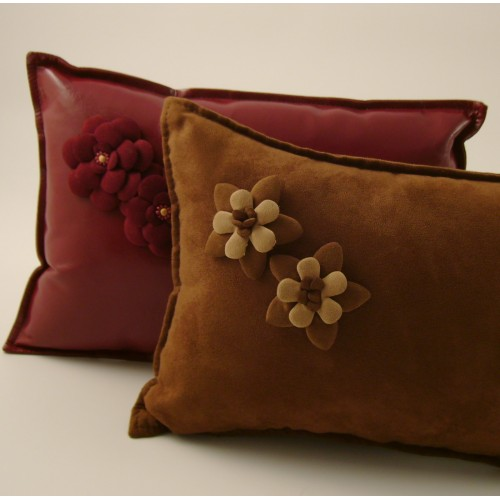 Corsage cushion - small rectangular - chocolate or wine