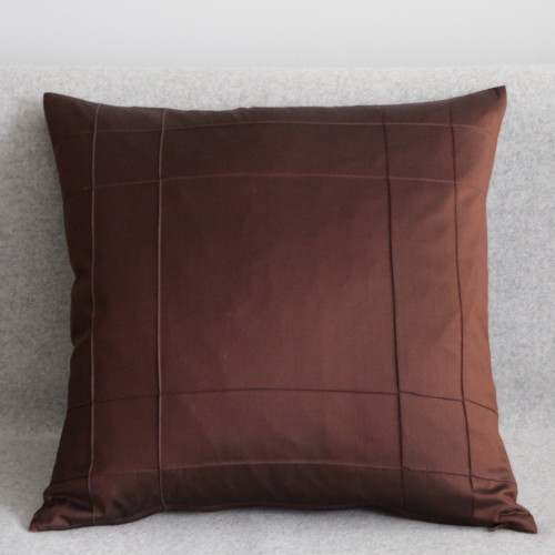 Stitched Grid - cushion - square - chocolate
