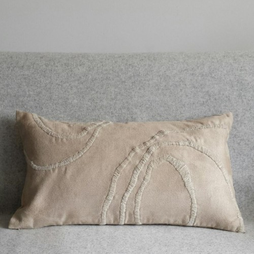 Curves - rectangular - cushion - beige