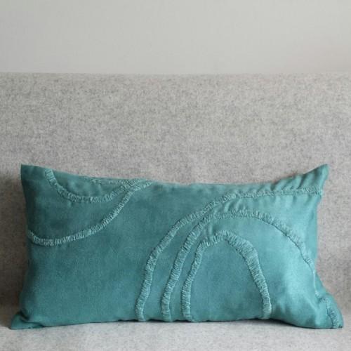 Curves - rectangular - cushion - teal