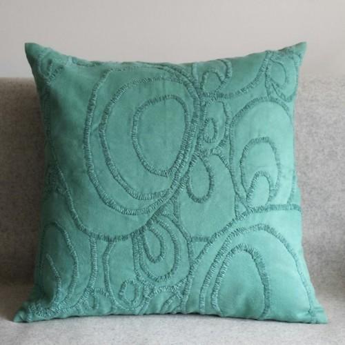 Curves - square - cushion - teal