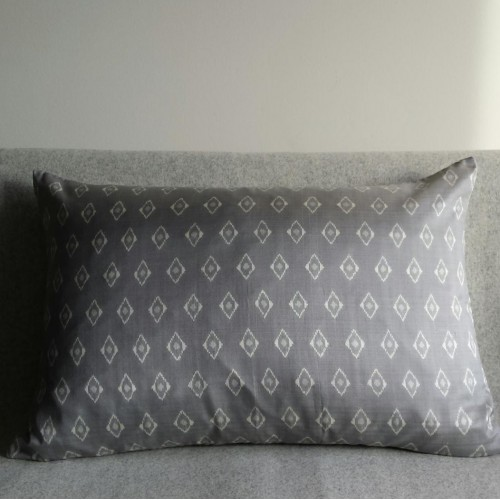Ikat Diamond Spot cushion - rectangular - silver grey