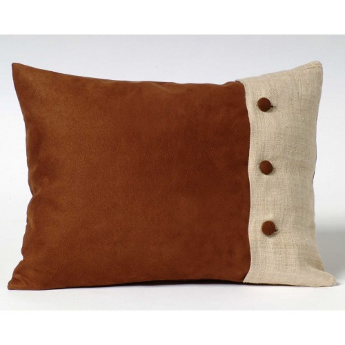 Faux Suede Buttoned Hemp cushion - rectangular - brown/natural