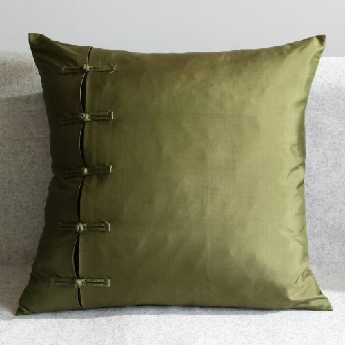 Frogging - square - cushion - olive