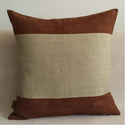 Faux Suede & Hemp Panel cushion - square - chocolate/natural