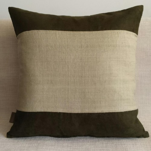 Faux Suede & Hemp Panel cushion - square - olive/natural
