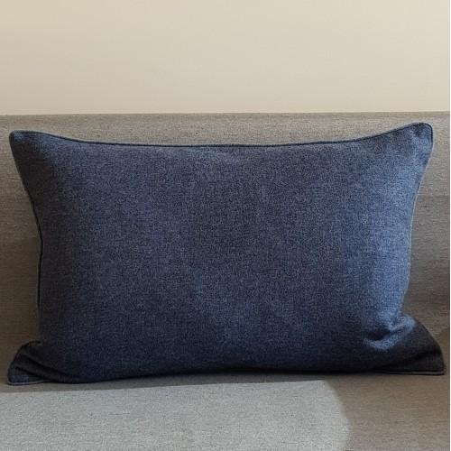 Herringbone Wool cushion - large - rectangular - blues