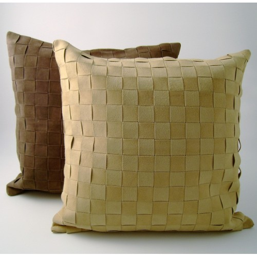 Suede - Lattice Weave cushion - square - beige or chocolate