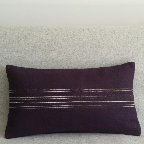 Felt with Stripes - cushion - rectangular - aubergine