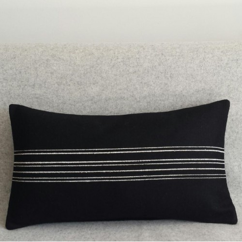 Felt with Stripes - cushion - rectangular - black