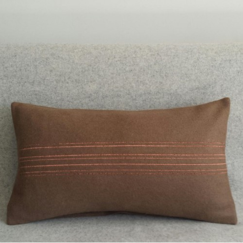 Felt with Stripes - cushion - rectangular - coffee