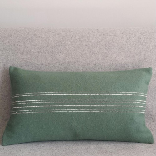 Felt with Stripes - cushion - rectangular - mint