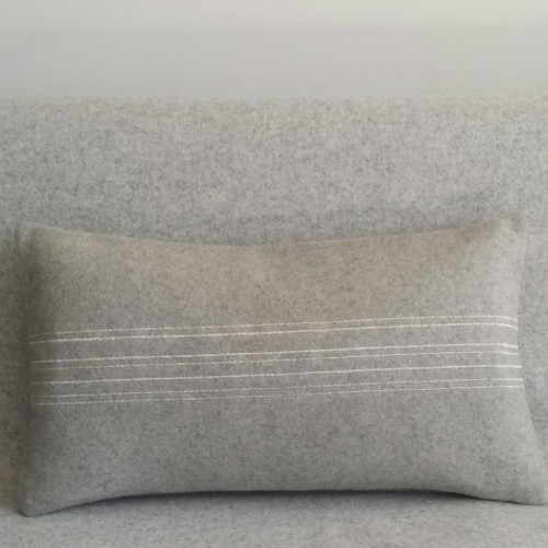 Felt with Stripes - cushion - rectangular - grey