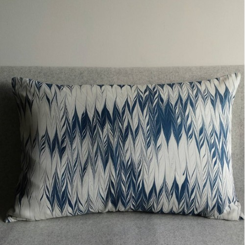 Marbled cushion - large rectangular - blue