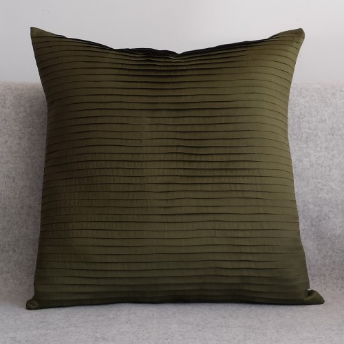 Pleated - square - cushion - olive