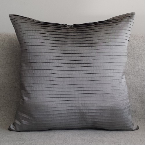 Pleated - square - cushion - silver