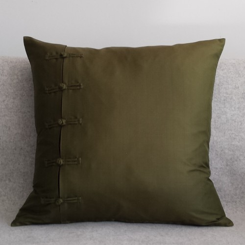 Frogging - square - cushion - olive