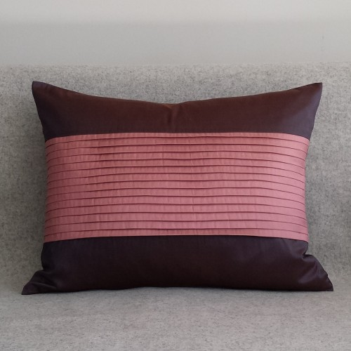 Pleated Panel cushion - rectangular - aubergine & pink