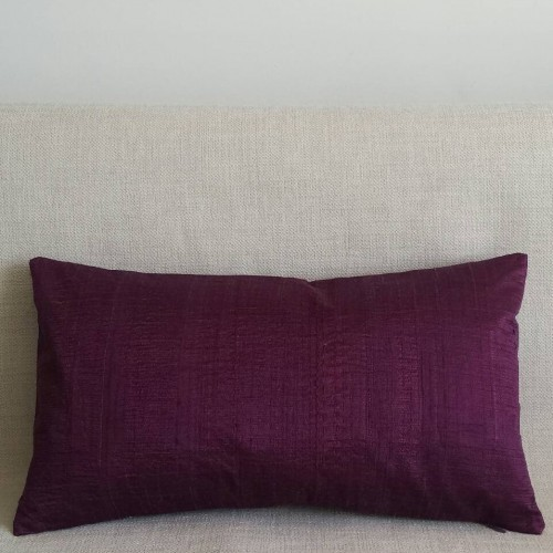 Running Stitch - rectangular - cushion - aubergine