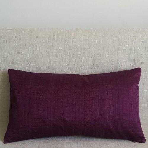 Running Stitch - rectangular - cushion - aubergine