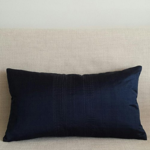 Running Stitch - rectangular - cushion - navy