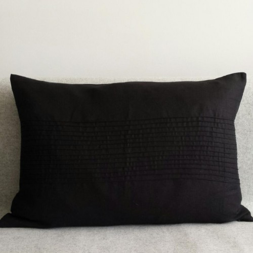 Pintuck Panel - large - rectangular - cushion - black