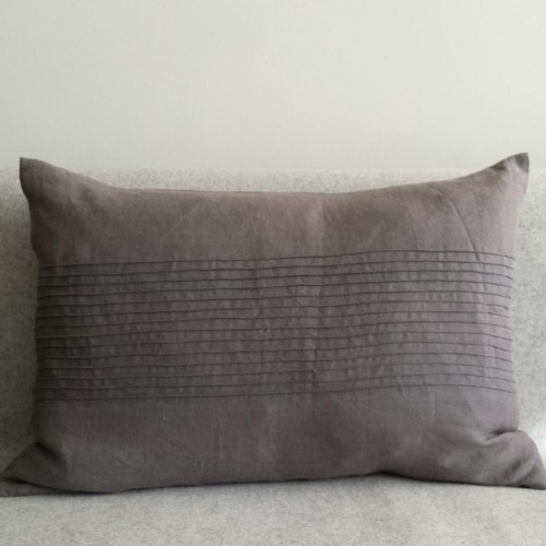 Pintuck Panel - large - rectangular - cushion - grey