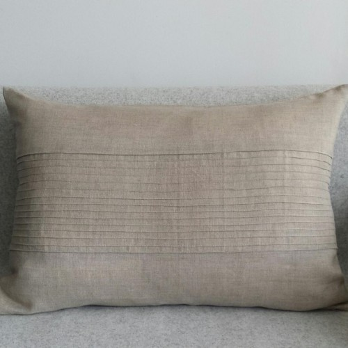 Pintuck Panel - large - rectangular - cushion - natural