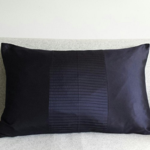 Pintuck Stripes 1 Panel - large - rectangular - cushion - navy