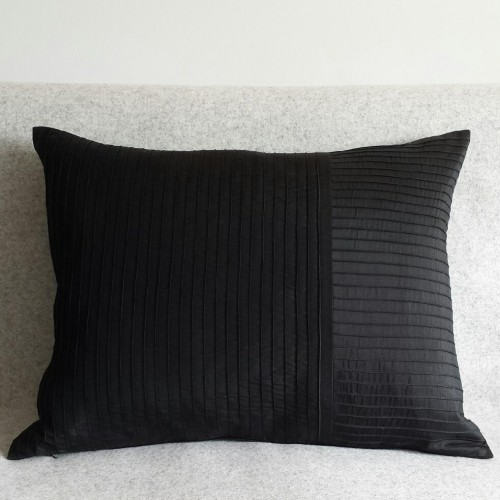 Pintuck Stripes - cushion - rectangular - black