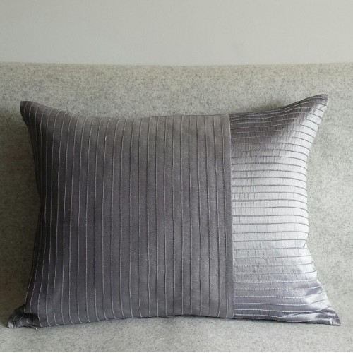 Pintuck Stripes - cushion - rectangular - silver