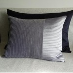 Pintuck Stripes 2 Panel - large - rectangular - cushion - navy