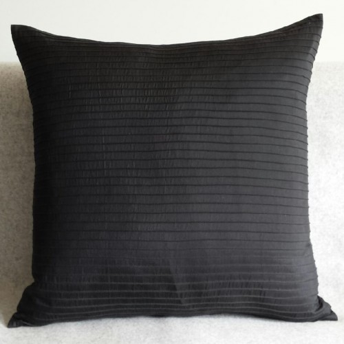 Pintuck Stripes - cushion - square - black
