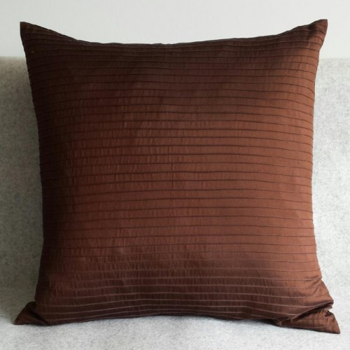 Pintuck Stripes - cushion - square - chocolate