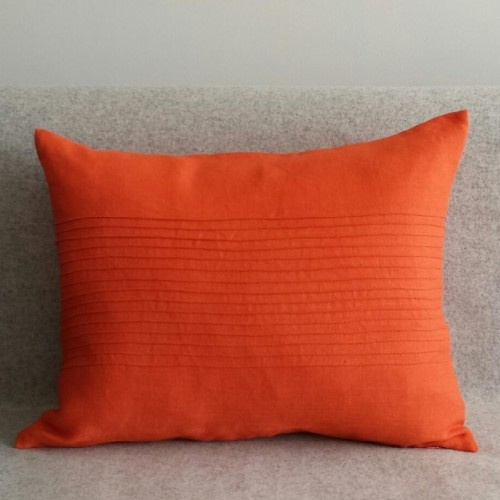 Pintuck Panel - rectangular - cushion - tangerine